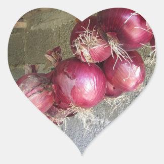 Colección colgante de la cebolla roja pegatina en forma de corazón