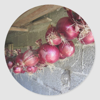 Colección colgante de la cebolla roja pegatina redonda