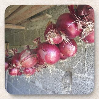 Colección colgante de la cebolla roja posavasos