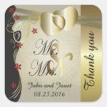 Colección con clase del boda del corazón del oro colcomanias cuadradases