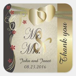 Colección con clase del boda del corazón del oro pegatina cuadrada