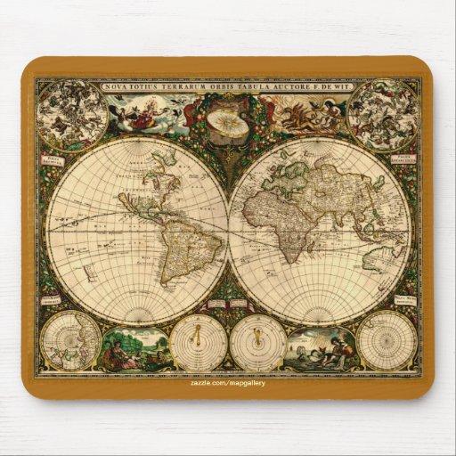 Colección de arte del mapa del mundo del vintage alfombrilla de ratones