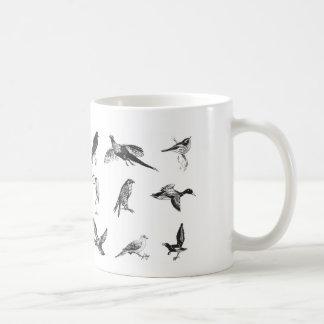 Colección de aves y de pájaros del agua del vuelo taza de café