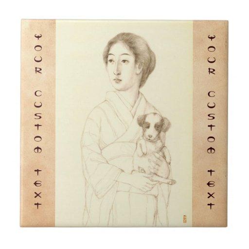 Colección de bosquejos de bellezas, arte del grafi teja  ceramica
