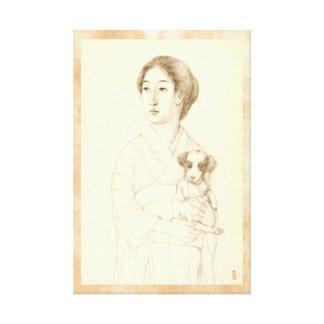 Colección de bosquejos de bellezas, arte del grafi lona envuelta para galerías