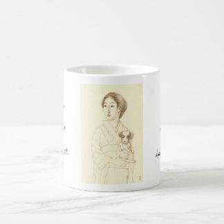 Colección de bosquejos de bellezas, arte del grafi tazas de café