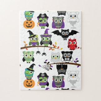 Colección de búhos fantasmagóricos de Halloween Rompecabeza