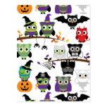 Colección de búhos fantasmagóricos de Halloween Postales