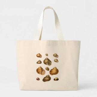Colección de cáscaras del mar, sobre todo marrón bolsa de mano