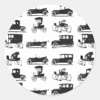 Colección de coches viejos y clásicos pegatina redonda