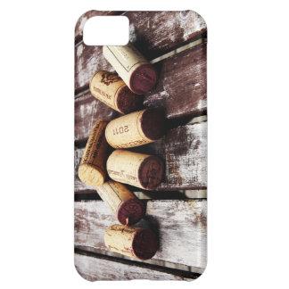 colección de corchos del vino en textura de madera funda iPhone 5C
