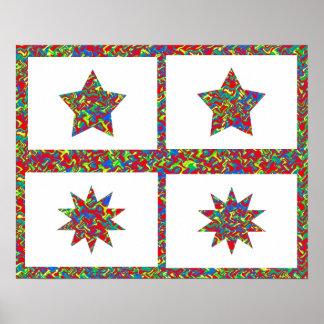Colección de diez puntos de la estrella de NOVINO Póster
