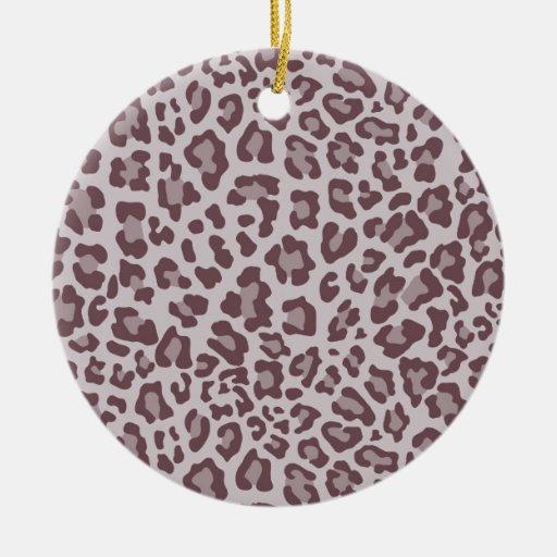 Colección de estampado leopardo del arco iris - adorno navideño redondo de cerámica