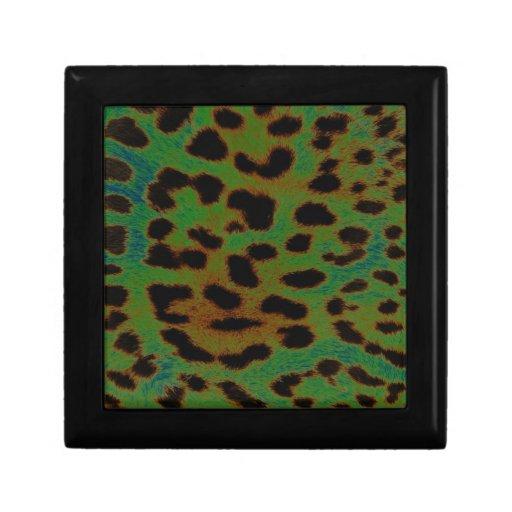 Colección de estampado leopardo verde joyero cuadrado pequeño