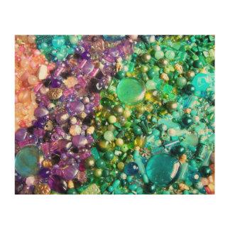 Colección de gotas coloridas impresiones en madera