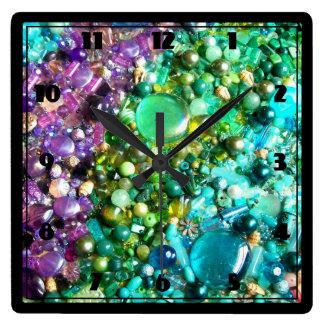 Colección de gotas coloridas reloj cuadrado