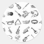 Colección de instrumentos musicales clásicos etiquetas redondas