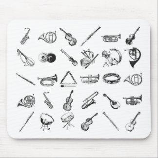 Colección de instrumentos musicales clásicos alfombrilla de raton