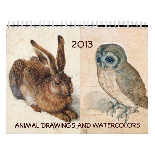 COLECCIÓN de la BELLA ARTE/dibujos animales 2013 Calendarios De Pared