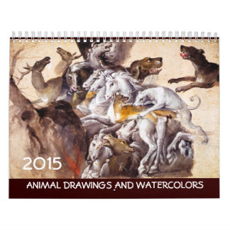 COLECCIÓN de la BELLA ARTE/dibujos animales 2015 Calendarios De Pared