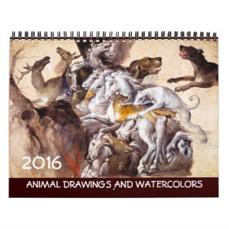 COLECCIÓN de la BELLA ARTE/dibujos animales 2016 Calendarios De Pared