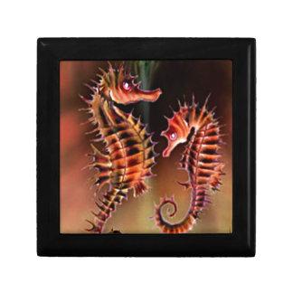 Colección de la fantasía del caballo de mar joyero cuadrado pequeño