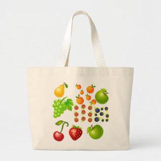 Colección de la fruta   del vector bolsa tela grande