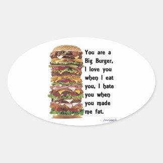 Colección de la hamburguesa pegatina ovalada