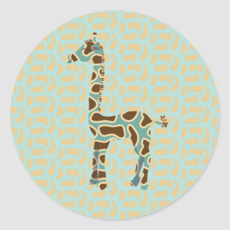 Colección de la jirafa pegatina redonda