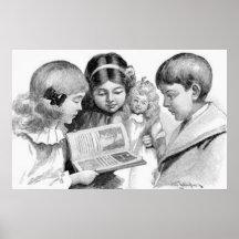 Colección de la lectura de los niños del vintage impresiones