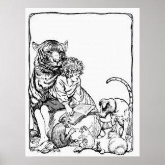 Colección de la lectura de los niños del vintage póster