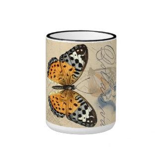 Colección de la mariposa del vintage taza