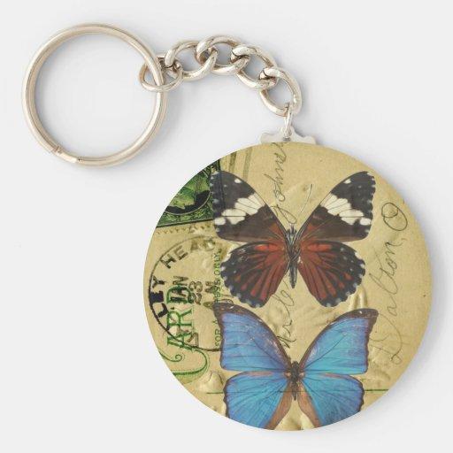 Colección de la mariposa llavero redondo tipo pin