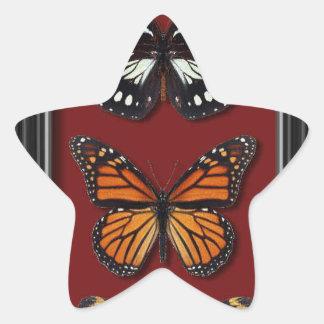 Colección de la mariposa pegatina en forma de estrella