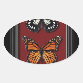 Colección de la mariposa pegatina ovalada