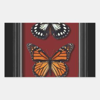 Colección de la mariposa pegatina rectangular