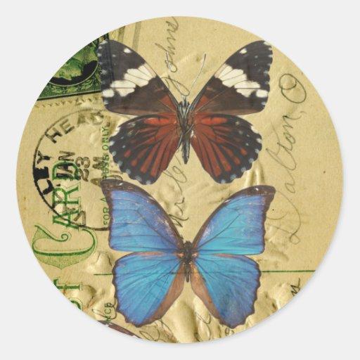 Colección de la mariposa pegatina redonda
