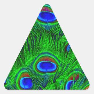 Colección de la moda de las plumas del pavo real calcomanías trianguloes