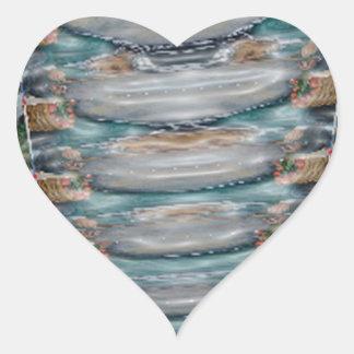 colección de la piedra preciosa de la perla 3d pegatina en forma de corazón