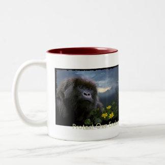 Colección de la taza del gorila de montaña de los