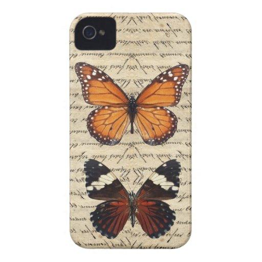 Colección de las mariposas del vintage Case-Mate iPhone 4 carcasa