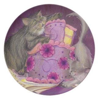 Colección de los gatos de la torta/placa de la mel plato de comida
