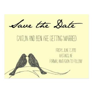 Colección de los pájaros del amor: Ahorre la fecha Postales