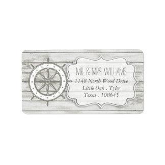Colección de madera blanqueada náutica del boda de etiquetas de dirección