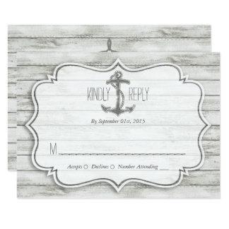 """Colección de madera blanqueada náutica del boda de invitación 3.5"""" x 5"""""""