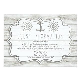 """Colección de madera blanqueada náutica del boda de invitación 4.5"""" x 6.25"""""""