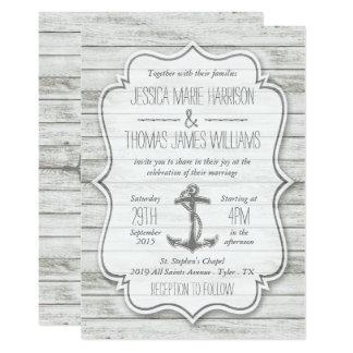 """Colección de madera blanqueada náutica del boda de invitación 5"""" x 7"""""""