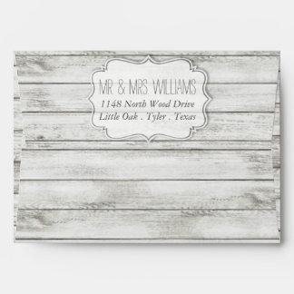 Colección de madera blanqueada náutica del boda de sobres