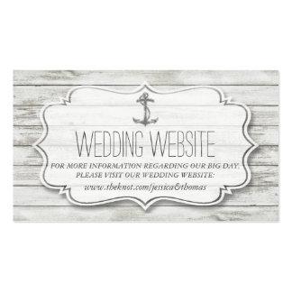 Colección de madera blanqueada náutica del boda de tarjetas de visita