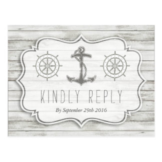 Colección de madera blanqueada náutica del boda de tarjetas postales